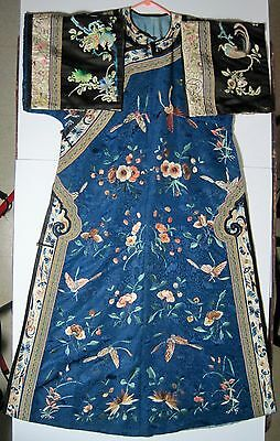 Antique Chinese 19Th Century Qing Robe Silk Embroidered