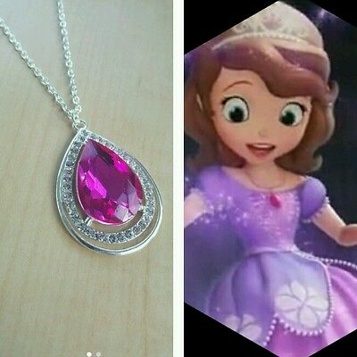 PINK Sofia The First Amulet Inspired Necklace Rhinestone Sparkle Bridesmaid