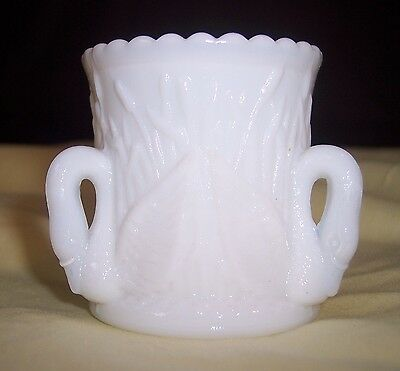 Westmoreland Glass - 3 Swans and Cattails, Milk Glass Toothpick Holder