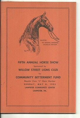 1955 Horse Show Willow St Lions Club Lampeter Pa Community Center Program