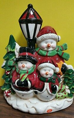 """Ceramic Musical and Light Up LED Snowman Family 11.25"""" Tall by Transpac X9678"""