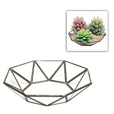 Small Faceted Glass Centerpiece Bowl / Leaded Glass Accent Décor Tray - MyGift