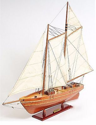 Model Wooden Boat America Cup Sailing Yacht Home Miniature Decor Handmade New