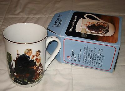 Vintage Norman Rockwell Coffee Tea Cup Mug The Country Doctor 1986 Gold Rim
