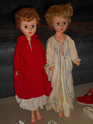 2 VINTAGE 24 inch 1950'S DOLLS ARROW IN DIAMOND SYMBOL + A BUNCH OF CLOTHES