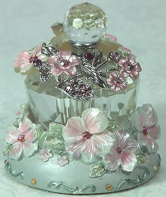 Perfume Bottle and Holder Hibiscus with Diamantes BTL 8159 New in Box