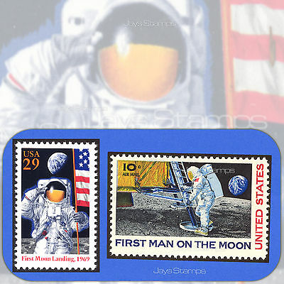 1969 & 1994  FIRST MOON LANDING  Topical PAIR of MINT Stamps  Cat# 2841a & C76