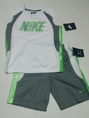 NWT NIKE  active boys size 6 Athletic shirt shorts 2pc green black set Outfit