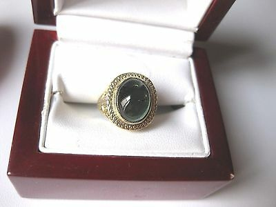 ANTIQUE 14K WHITE GOLD FILIGREE RING with NATURAL GREEN TOURMALINE,ART DECO