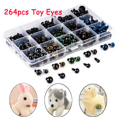 264pcs 6-12mm Plastic Safety Eyes Eyeballs Making Bear Soft Toys Animal Craft