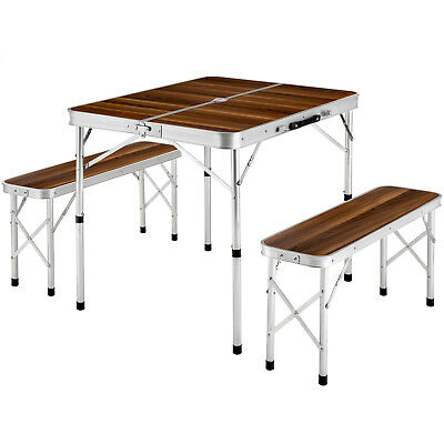 Folding table with 2 benches camping set portable garden picnic outdoor BBQ