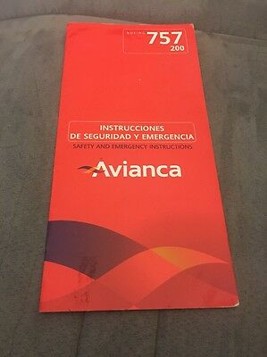 AVIANCA Boeing 757-200 Airlines Safety Card