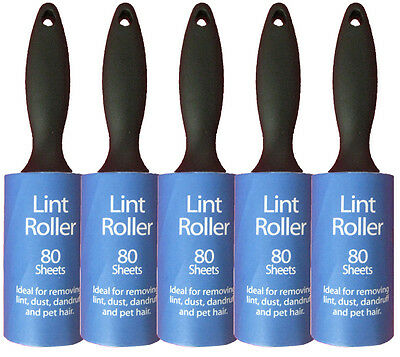 5 x Lint Roller pack with 80 sheets each