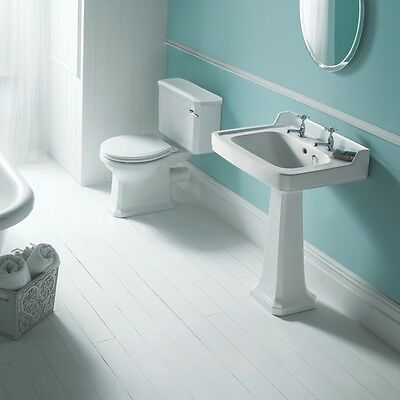 Rowan Traditional Toilet WC and Cloakroom Basin Sink Set Bathroom Suite