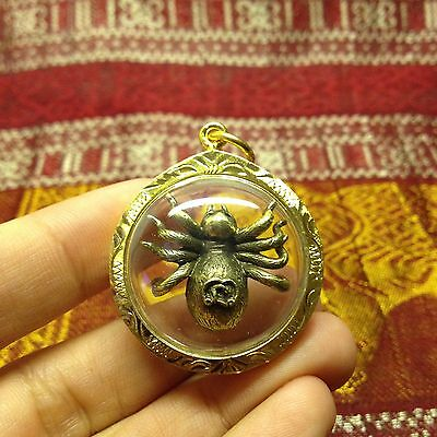 Mini Spider Yantra Thai Amulet Talisman Brass Luck Love Rich Wealth Protect
