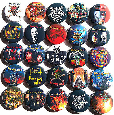 RUNNING WILD Port Royal Into the Arena Pins Buttons Badges Heavy Metal Lot of 25