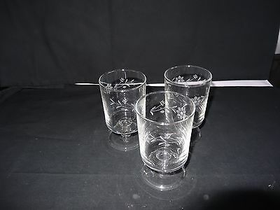 3 Vintage France Glasses Etched with a flower pattern.