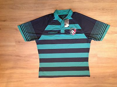 Leicester Tigers Short Sleeve Touchline Hooped Match Shirt.