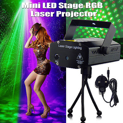 Mini LED laser Stage Light Red & Green Star Projector Strobe DJ Disco Party UK