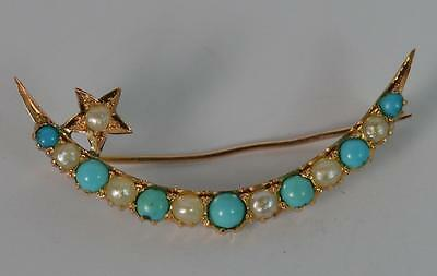 Superb Turquoise & Pearl Ladies 9ct Gold Crescent & Star Brooch p1871