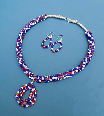 handmade Silver Braiding Leather Jewellery set pendant necklace and earring