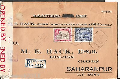 ADEN 1942 LARGE COVER 5½ ANNAs TO INDIA.