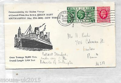 Gb 1936 Rms Queen Mary Cover To Usa.