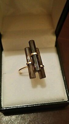 WAS £150  14ct not 9or18ct Gold Vintage Smokey Quartz ,one off artisan ring .L/M