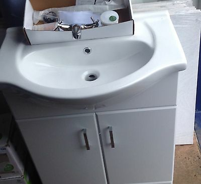 High Gloss White Vanity Unit with Ceramic sink + Tap mixer