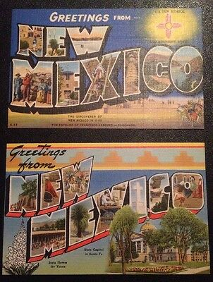 Lot Of 2 Greetings From New Mexico Linen Vintage Large Letter Unused Postcards