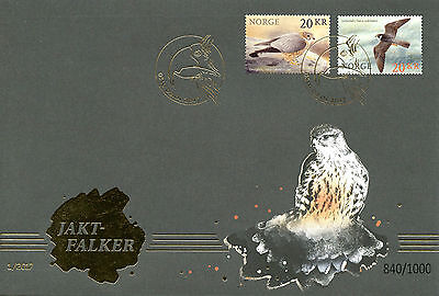 Norway 2017 FDC Birds of Prey Falcons 2v S/A Golden Cover Merlin Hobby Stamps