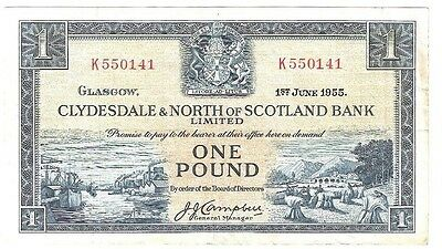CLYDESDALE & NORTH of SCOTLAND BANK Limited £1 BANKNOTE - 1955 - VF+