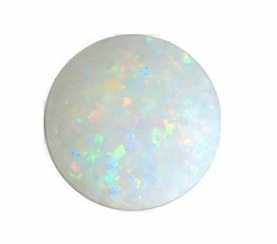 Natural Opal White + Flashes of Colour 4mm Round Cabochon Gem Gemstone