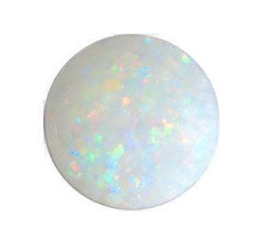 Natural Opal White + Flashes of Colour 8mm Round Cabochon Gem Gemstone