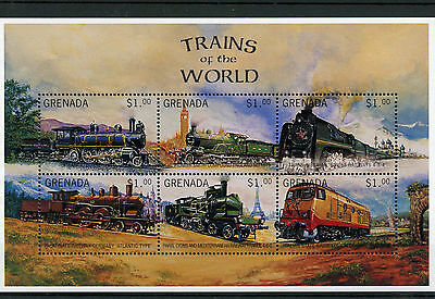 Grenada 1996 MNH Trains World 6v M/S Railways Züge Treni Chemin de Fer Stamps