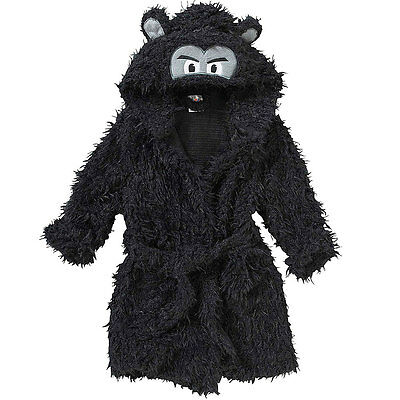Animal Crazy Childs Boys Girls Gorilla Bath Robe Dressing Gown Supersoft Fleece