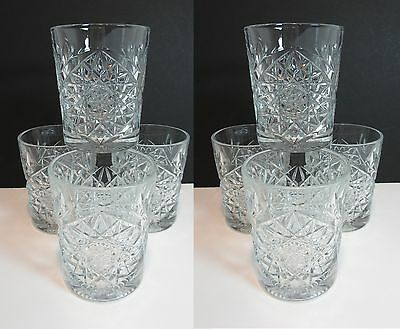 """8 Libbey 12 oz. HOBSTAR DOUBLE OLD FASHIONED GLASSES 4 1/4"""""""