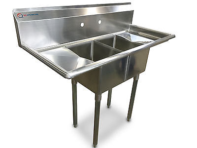 """EQ  Compartment Sink Kitchen Commercial Stainless Steel Silver 48""""X19.5""""X43.75"""""""
