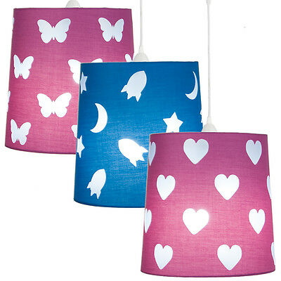 Kids Cutout Dual Purpose Lightshade Silhouette Hearts Butterfly Space Blue Pink