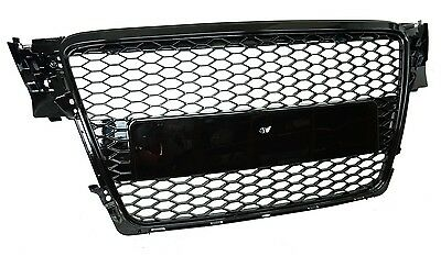Gloss Black Front Grille Audi A4 B8 Honeycomb mesh 2007-2012 RS4 estate saloon