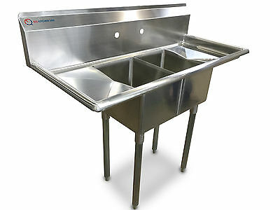 """EQ 2 Compartment Commercial Kitchen Sink Stainless Steel 19.5""""x43.75""""x56"""""""