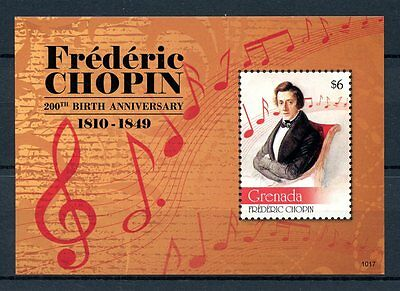 Grenada 2010 MNH Frederic Chopin 200th Birth Anniversary 1v S/S Music Stamps