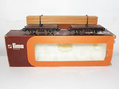 Vintage Lima 9038 Twin Flat Wagons With Plank Load HO Gauge Scale Boxed