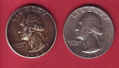 R* Usa Quarters Lot 25 Cents Silver 1963 & 25 Cents 1973 Vf/xf Details
