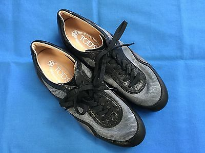 Tod's Black & Grey Unisex Sneaker Style Shoes - Tod's Size 5 (Mens 6 Ladies 8)