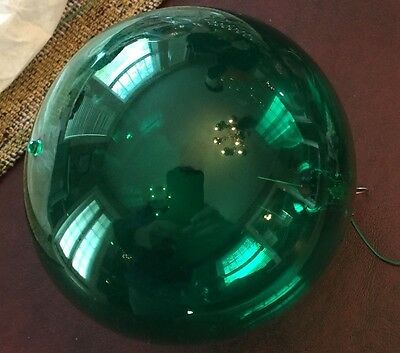 Vintage Dark Green Blown Glass Ball Shaped Christmas Ornament