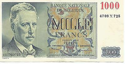 BILLET BELGIQUE 1000 FRANCS 25/04/1951  PICK 131a  VF/XF   TTB/SUP