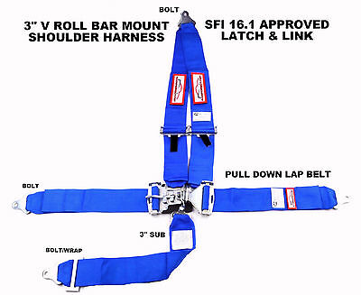 "Sfi 16.1 Racing Harness 5 Point V Roll Bar Mount 3"" Latch & Link Blue"