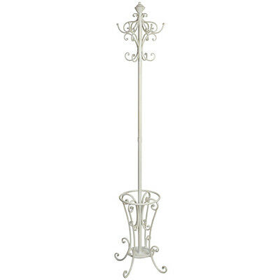 SECONDS Large Tall Antique White Freestanding Hat Coat & Umbrella Stand