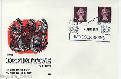 1977 sgX876 + X876Ea 7p purple-brown Machin definitives First Day Cover